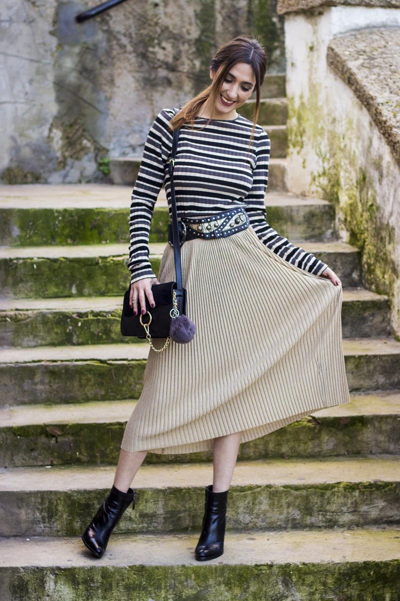 golden pleated midi skirt