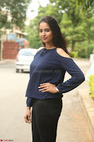 Poojita Super Cute Smile in Blue Top black Trousers at Darsakudu press meet ~ Celebrities Galleries 045.JPG