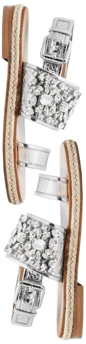 Michael Kors Collection Lafayette Embellished Metallic Snakeskin Sandal