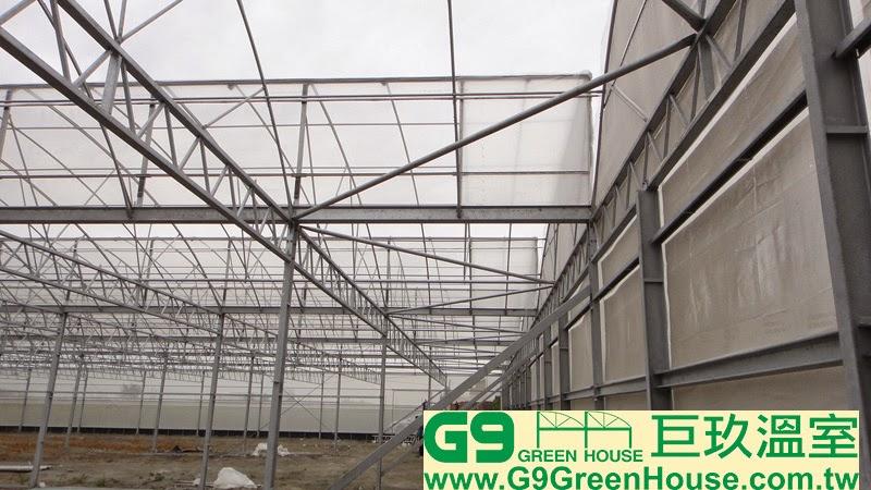 前後風頭結構採用風頭H鋼支柱方管斜撐與水平樑內八斜撐相互配合連接在溫室風頭結構完成外觀