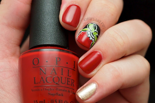 2016 Winter Nail Art Challenge: Red and Gold