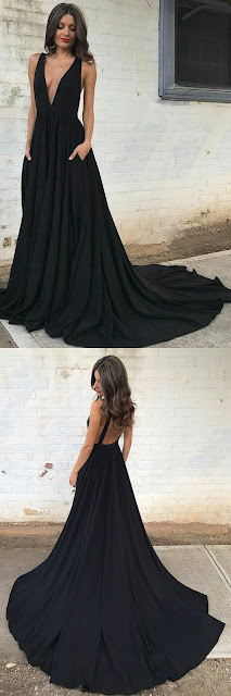 Deep v neck black chiffon prom Dress