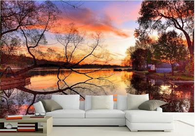 natur tapet landskap sjö fototapet solnedgång träd