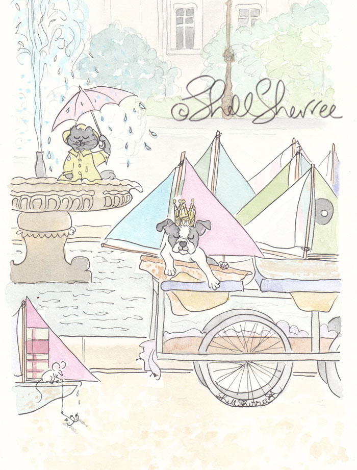 Paris Jardin du Luxembourg illustration Boston Terrier and Kitty Cat with Sailboats  © Shell Sherree all rights reserved