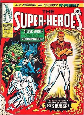 Marvel UK, the Super-Heroes #25, Silver Surfer and Doc Savage