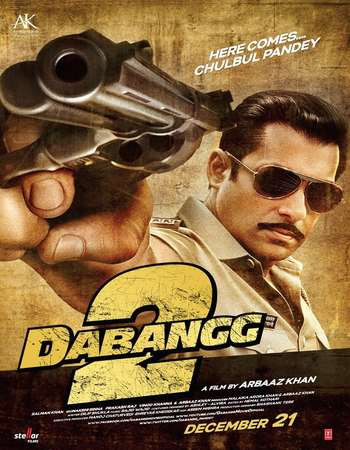 Poster Of Dabangg 2 2012 Hindi 400MB BRRip 720p ESubs HEVC Watch Online Free Download Worldfree4u
