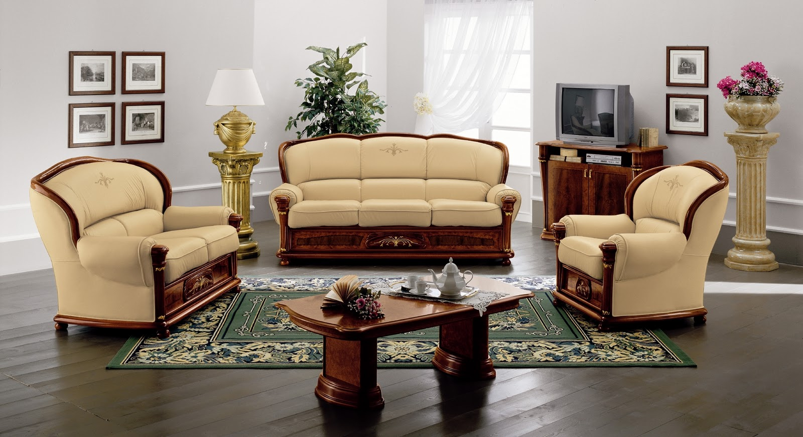Living room sofa design photos living room interior designs for Hall furniture design sofa set