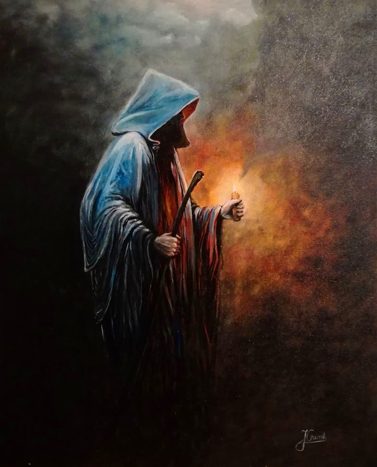 Obraz 2 ; Mnich z ogarkiem świecy