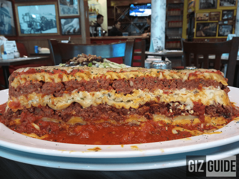 Buca's monster sized lasagna, look at the background blur too