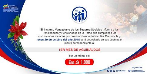 Aviso Oficial: Pago primer mes de aguinaldo a los pensionados del IVSS