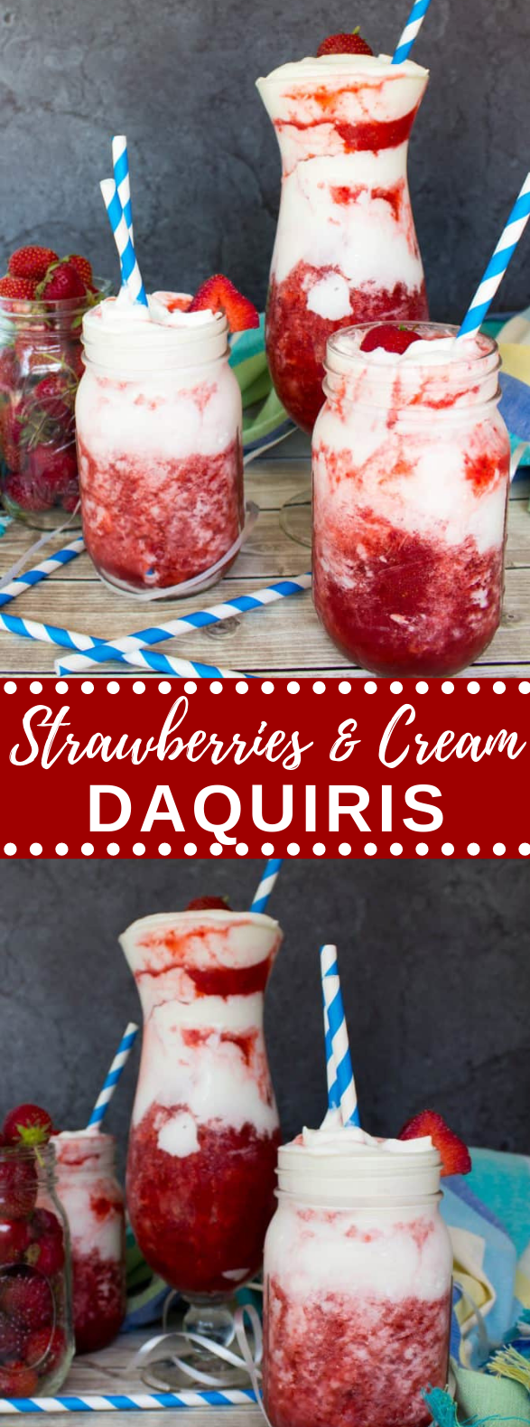 Strawberries & Cream Daiquiris #bestrecipe #drinks