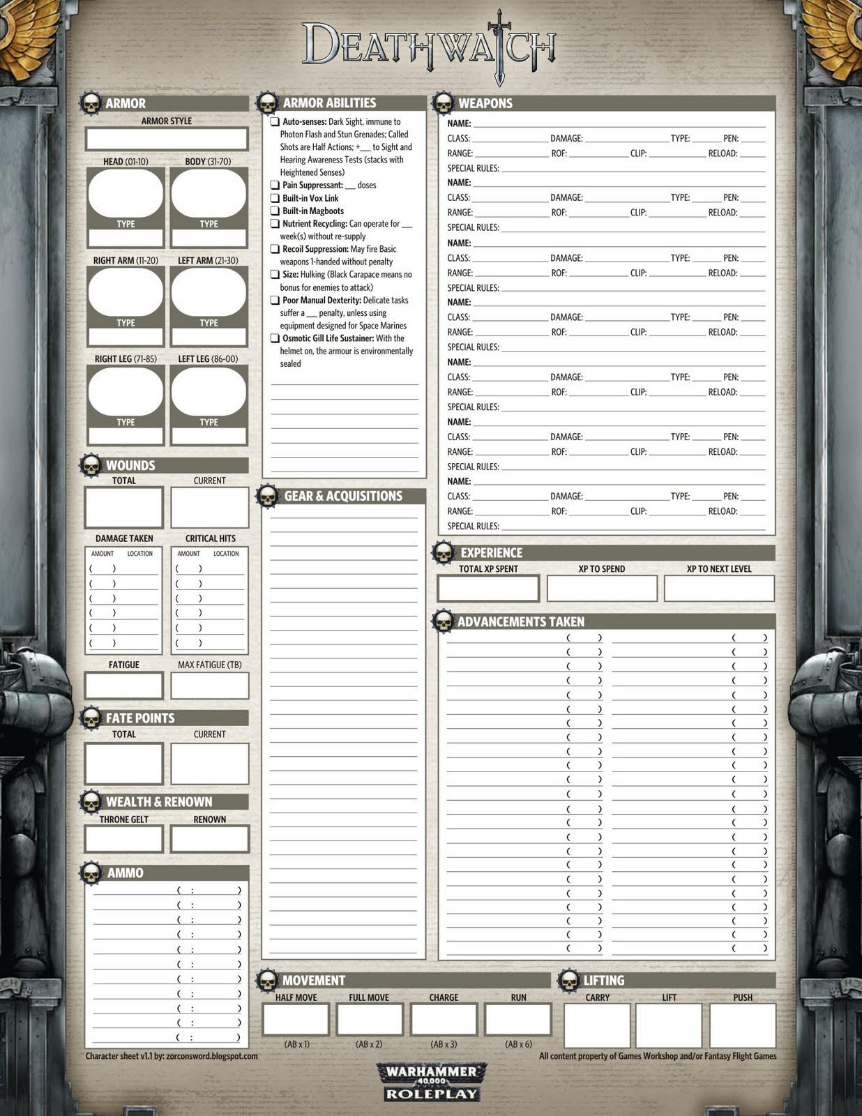 Zorcon S Wordwatch Character Sheet