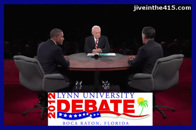 Seated left to right: President Barack Obama, Moderator Bob Schieffer, Governor Willard 'Mitt' Romney, at the Lynn University Debate in Boca Raton, Florida 10-22-12