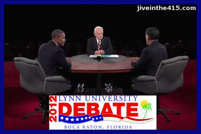 Seated left to right: President Barack Obama, Moderator Bob Schieffer, Governor Willard 'Mitt' Romney, at the Lynn University Debate in Boca Raton, Florida 10-22-12