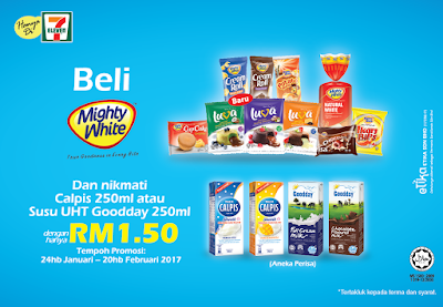 7-Eleven Malaysia Calpis Susu UHT Goodday 250ml Mighty White Promo