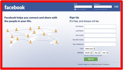 go to facebook login page