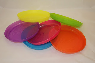 kids plates, 6 pieces, yellow, purple, pink, blue, orange, green £2.20 FREE postage