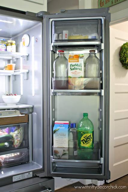 Fridge with drinks in door