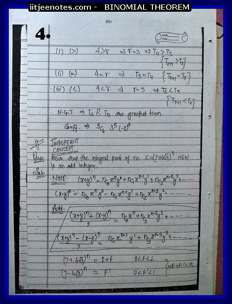 IITJEE Notes on Bimomial Theorem 4