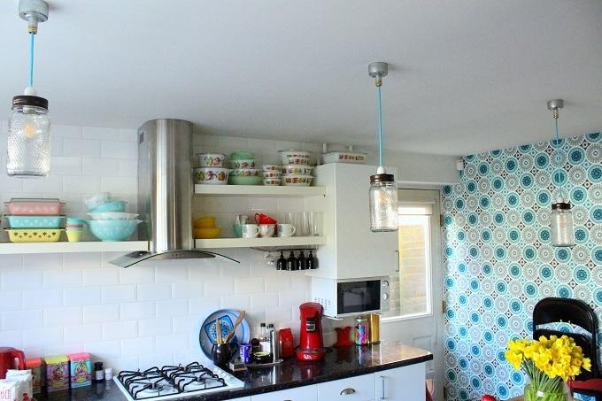 New jam Jar lights in the kitchen