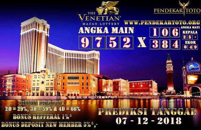 Prediksi Venetian Macao Lottery Tanggal 07 Desember 2018
