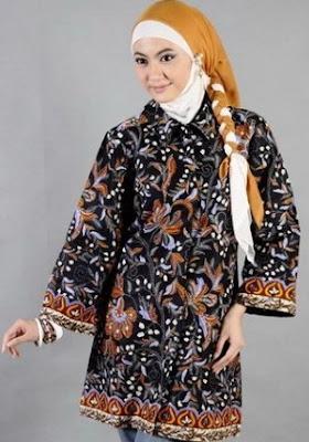 Dress batik lengan panjang untuk remaja + hijab gaya modern
