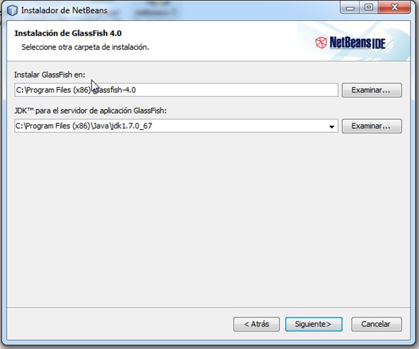 Establecer ruta de instalación y del JDK netbeans