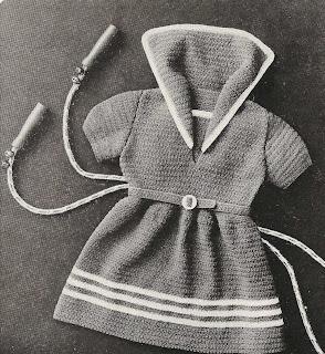 Vintage Little Girls Sailor Dress Crochet Pattern