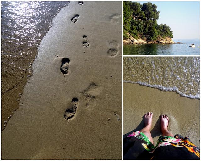 Footprints on the sand Vromolimnos Beach, Skiathos, Greece