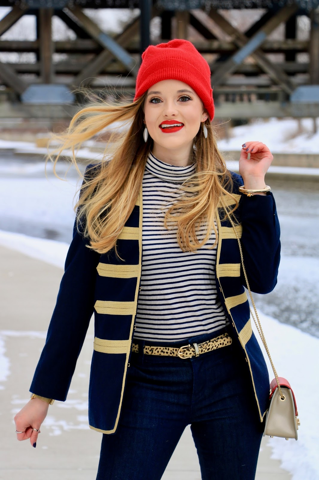 Nyc fashion blogger Kathleen Harper wearing Zadig and Voltaire military jacket