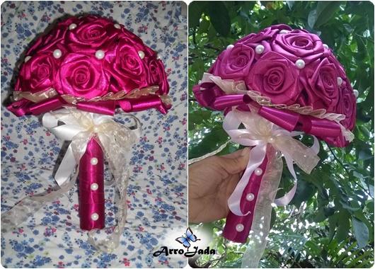 Buquê de rosas de fita