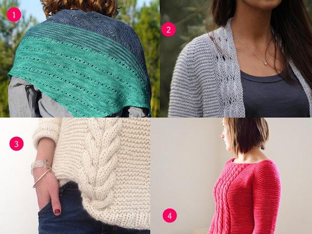 sélection de tricots au point mousse