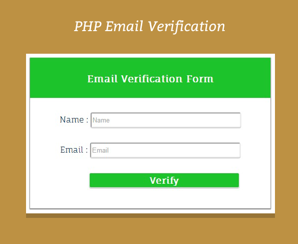 Email Verification Script in PHP