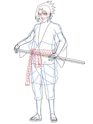 cara menggambar Sasuke Hebi tahap 18