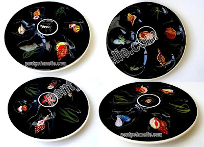 Vintage Rare Black Henriot Quimper Oyster Plates.Glossy Faience Dishes depicting Multiple Shellfish, Seafood, Seaweed from Brittany Region