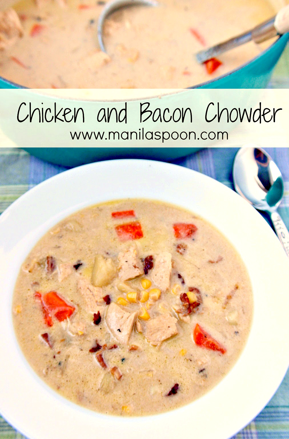 Lots of chicken and vegetables, flavored with bacon and so creamy-licious is this Chicken and Bacon Chowder!