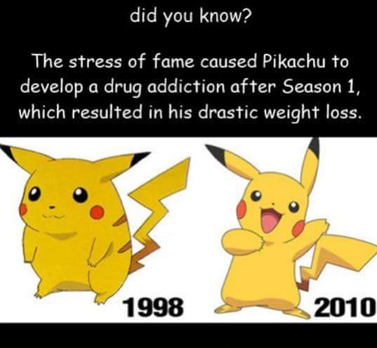 Pikachu 1998 and 2010