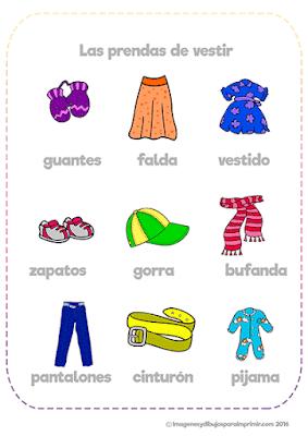 Fichas con imágenes de ropa para aprender
