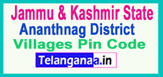 Ananthnag District Pin Codes in Jammu & kashmir State