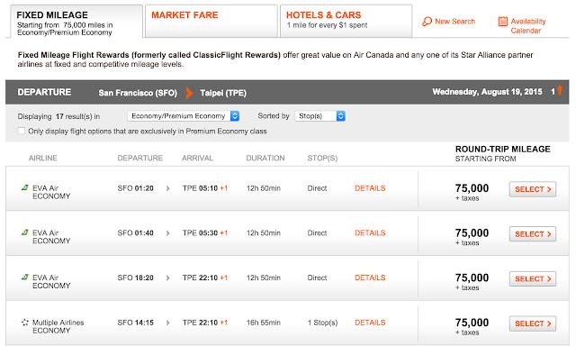 加拿大航空哩程票查詢結果