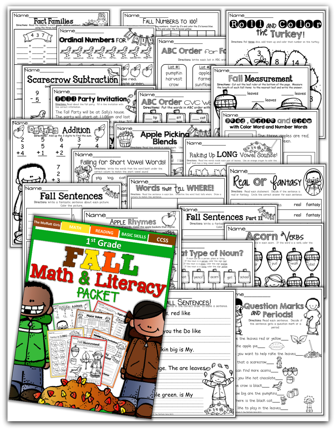 Fall Math And Literacy Packet 1st Grade