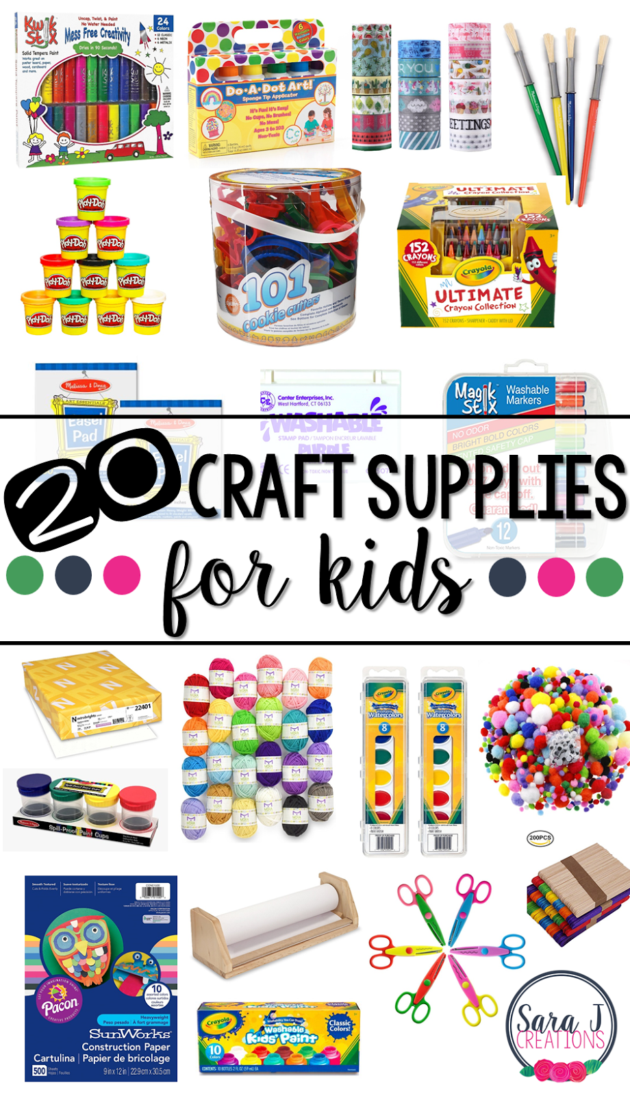 A showcase of our 20 favorite must have craft supplies for kids to be ready to make on the spot art projects. #artsupplies #craftsupplies #crafts #sarajcreations