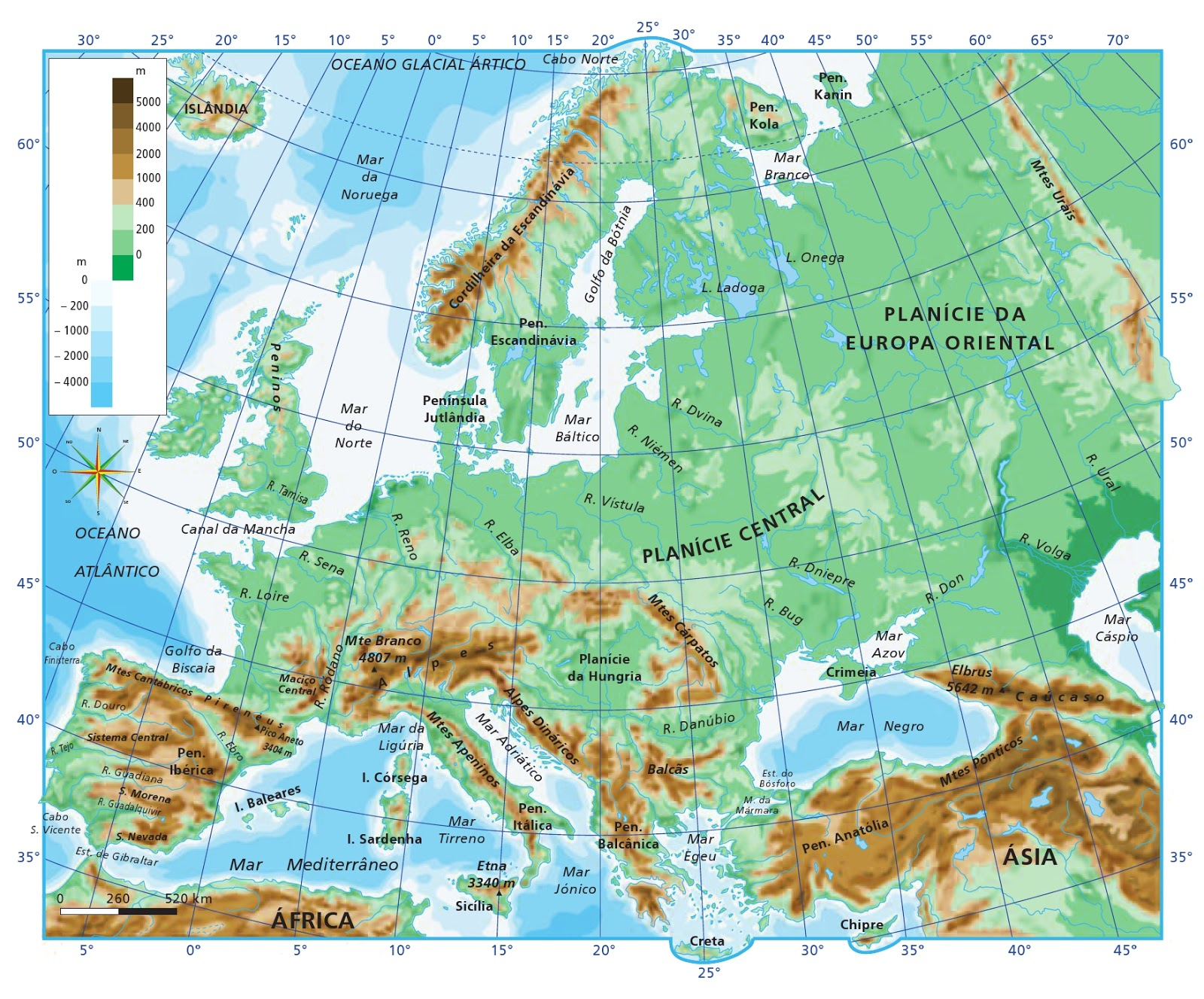 mapa hipsométrico da europa ALFÂNDEGA DA FÉ: 9º ANO: UNIÃO EUROPEIA SÉC XX: MAPAS mapa hipsométrico da europa