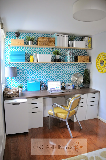 Small home office with a pop of customized {removable} wallpaper :: OrganizingMadeFun.com