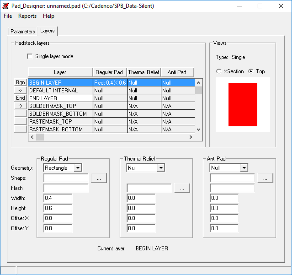 Creating a custom smd footprint manually in cadence embedded figure 3 layers tab with begin layer selected biocorpaavc Choice Image