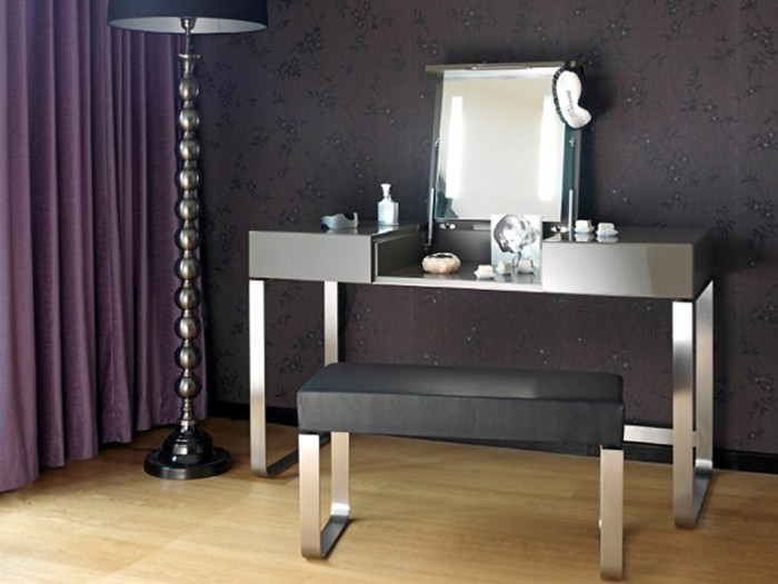compact dressing table design ideas, with folding mirror