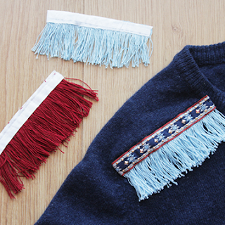 DIY Fringe trim sweater update