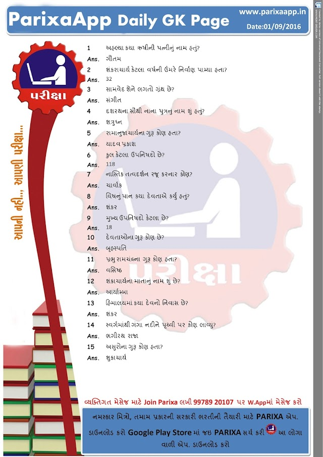 Parixa Daily GK Page Date: 01/09/2016