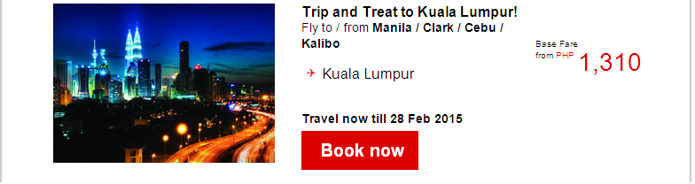 Air Asia: Trip and Treat this October! Base fares from PHP299