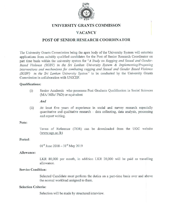 Senior Research Coordinator Vacancy